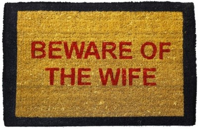 Happily Unmarried Coir Medium Door Mat Beware of the Wife Doormat