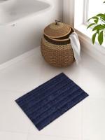 Spaces by Welspun Cotton Large Bath Mat SPACES Swift Dry Navy Blue Cotton Bath Mat - Large(Navy Blue, 1 Bath Mat)
