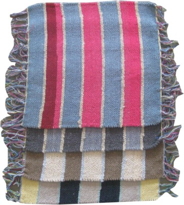 Krishna Carpets Cotton Medium Prayer Mat Striped Mats(Multicolor, 4 Mat)