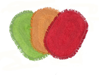 Home Fashion Cotton Medium Door Mat Multicolor Cotton Reversible Oval Door Mat - Pack Of 3