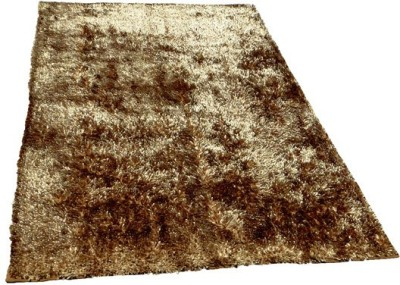 Chaitnya Handloom Polyester Medium Floor Mat Gold Flarry Polyster mat
