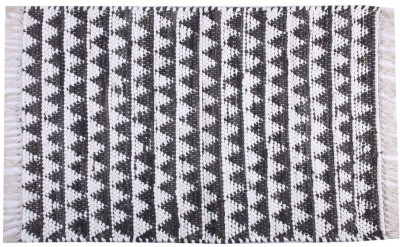 Homenblingss Cotton Small Door Mat Triangles slate Rug