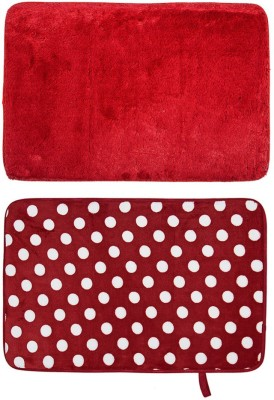 Cortina Microfiber Large Bath Mat Premuim-9(Red, 2 Mats) at flipkart