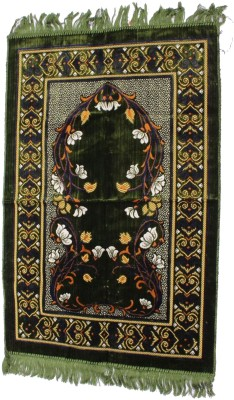 Muslimkart Polyester Medium Prayer Mat Mat(Green, 1 Mat)