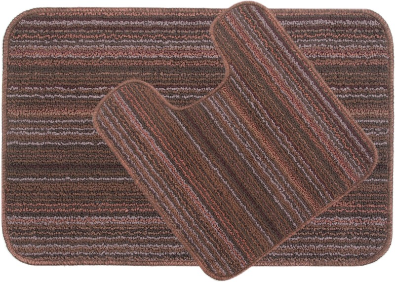 Saral Home Polyester Anti-slip/Anti-grease Mat Polyester Bathmat(Brown, Medium)
