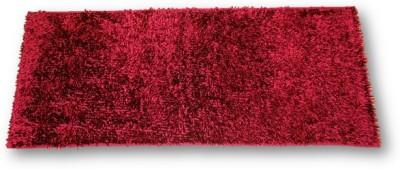 Sudesh Handloom Velvet, Polyester Medium Floor Mat Sudesh Handloom Imported Stuff Plain Mehroon Rug