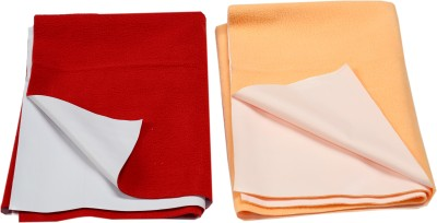 Eazidry Cotton Medium Sleeping Mat Combo of Eazidry Plain waterproof Red Small + Orange small dry sheets