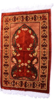 Muslimkart Polyester Medium Prayer Mat Mat(Red, 1 Mat)