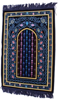 Muslimkart Polyester Medium Prayer Mat Mat(Blue, 1 Mat)