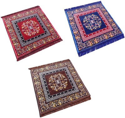 Yellow Weaves Polyester Medium Prayer Mat Ethnic Design Set of 3 Aasan(Multicolor, 3 Pooja Aasan)