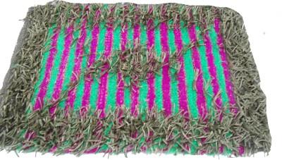 Mrignayaneei Cotton, Silk, Acrylic Medium Door Mat Threaded Cotton Mat