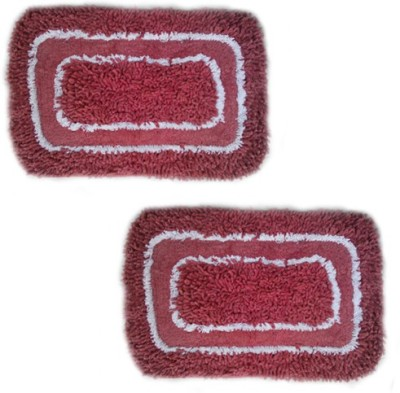 Firangi Cotton, Polyester Free Floor Mat Set of 2 Round Corner Door & Bath Mat