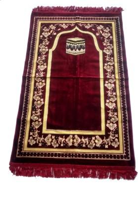 Fiable Polyester Large Prayer Mat Elegant Velvet Janemaz-(Maroon)(Maroon, 1 Janemaz)