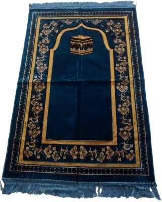 Fiable Polyester Large Prayer Mat Elegant Velvet Janemaz -(Blue)(Blue, 1 Janemaz)