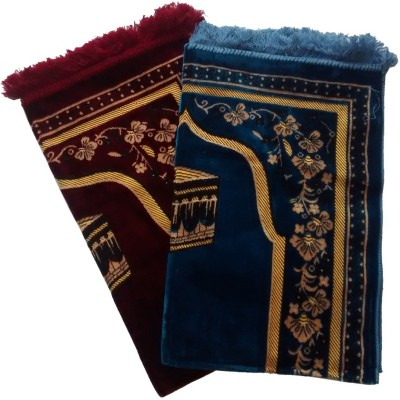 Fiable Polyester Large Prayer Mat Elegant Velvet Janemaz Jodi set of 2(Multicolor, 2 Janemaz)
