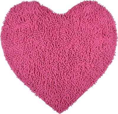 Brabuon Cotton Medium Floor Mat Pink Heart Shaped Cotton Bath (length 70 cm and width 70 cm)