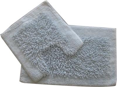 Krishna Carpets Cotton Large Bath Mat 50 x 80 & 50 x 50 Cm Lt. Blue Color Bathmat Set