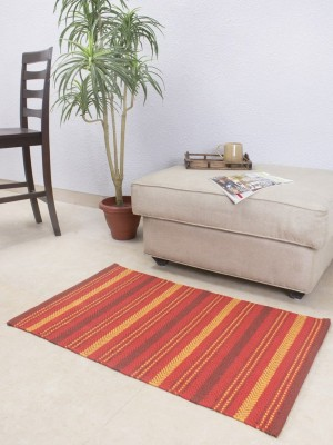 House This Cotton Small Floor Mat Floor Rug(Red, 1 Floor Rug)