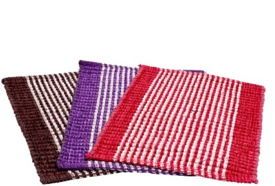Kuber Industries Jute Medium Door Mat Set of 3 Pcs