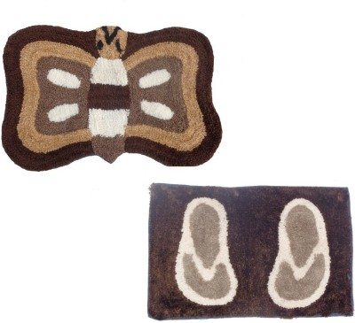 Home Fashion Microfiber Medium Door Mat Home Fashion Brown Microfiber set of 2 Door Mats