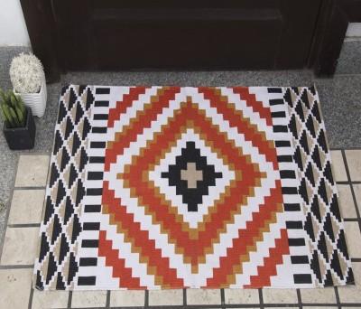 House This Cotton Free Floor Mat Floor Rug(Orange, 1 Floor Mat)