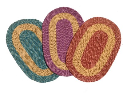 Home Fashion Cotton Medium Door Mat Multicolor Cotton Oval Border Door Mat - Pack of 3