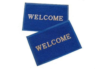 Home Fashion PVC Medium Door Mat Home Fashion Blue Welcome Plastic Medium Door Mat - set of 2
