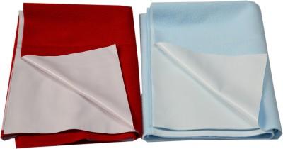 Eazidry Cotton Small Sleeping Mat Combo of Eazidry Plain waterproof Blue Small + Red Small dry sheets