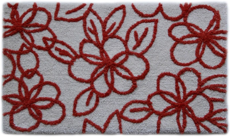 Paramorasi Cotton Bath Mat Bell Flower(Ox Blood, White, Medium)
