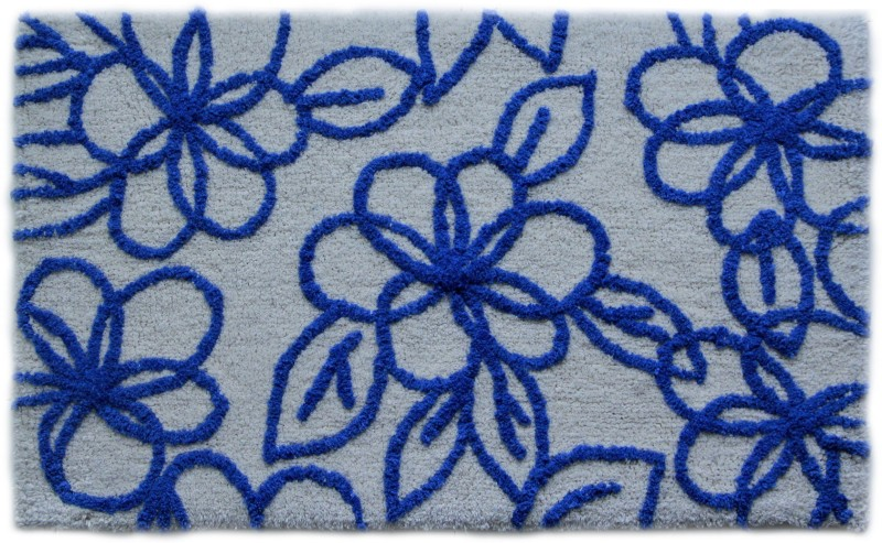 Paramorasi Cotton Bath Mat Bell Flower Blue(Blue /White, Medium)