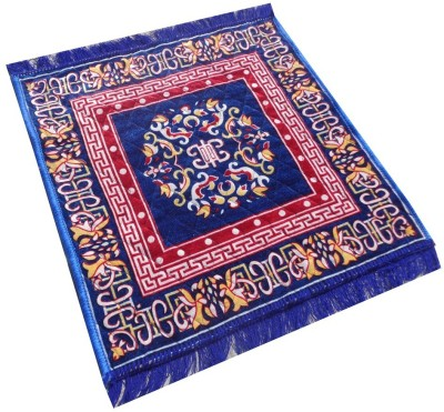 Yellow Weaves Polyester Large Prayer Mat Ethnic Design Pooja Aasan(Blue, 1 Pooja Aasan)