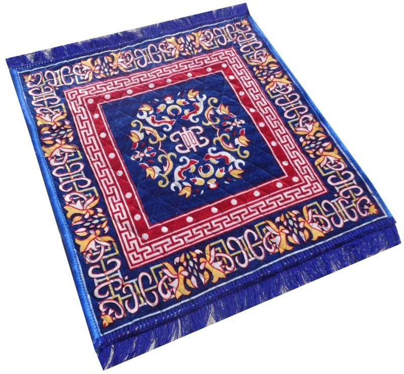 Yellow Weaves Polyester Prayer Mat Ethnic Design Pooja Aasan(Blue, Large)