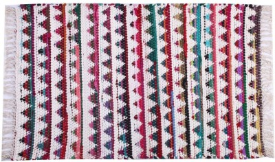 Homenblingss Cotton Small Door Mat Triangles Multi Rug