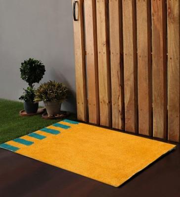 POBO Cotton Medium Door Mat Po Box Accent Stripes Blue&Yellow 1 Bath Rug 24