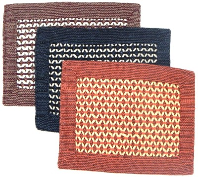 Peponi Polyester Small Door Mat Peponi Multicolor Cotton Hand Woven Door Mat Set of 3