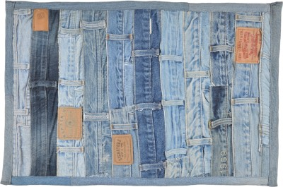 Brabuon Cotton Medium Floor Mat Blue Denim (length 60 cm and width 40 cm)