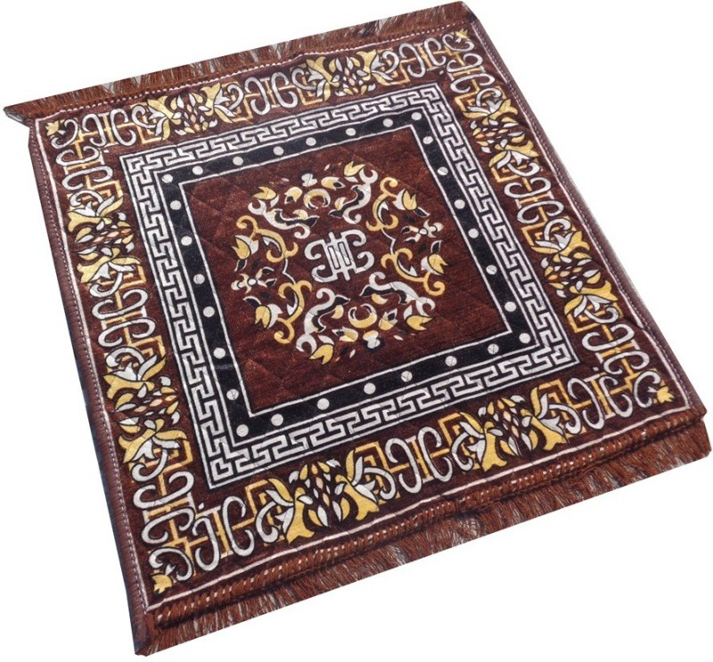 Yellow Weaves Polyester Prayer Mat Ethnic Design Pooja Aasan(Brown, Large)
