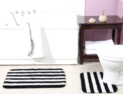 ACASA Cotton Bath Mat BATH MAT(Black, White, Free)