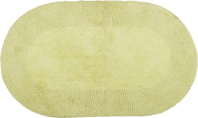 Brabuon Cotton Medium Floor Mat Green Oval Reversible Cotton Bath (length 75 cm and width 45 cm)