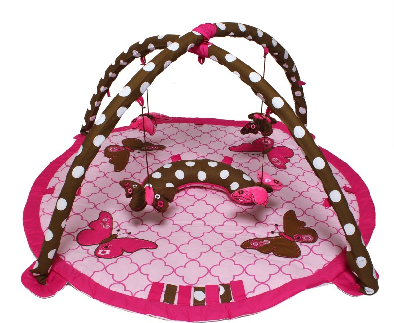 Bacati Cotton Gym Mat BIBUPCPAG(Pink, Brown, Free)