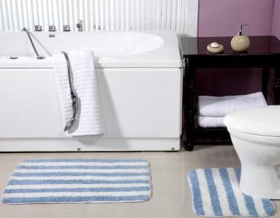 ACASA Cotton Bath Mat BATH MAT(Light Blue, White, Free)