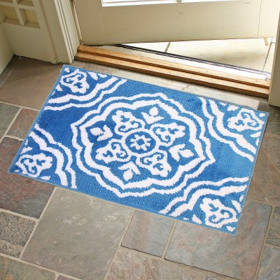 KunalHomeConcept Latex Rubber Small Bath Mat Blue Medallion Bathmat