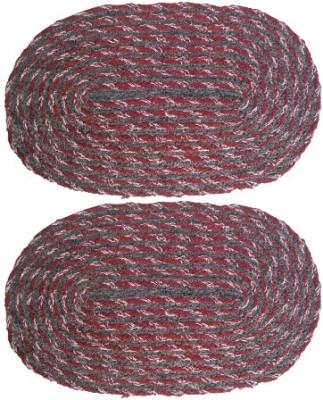 Firangi Cotton, Polyester Free Floor Mat Set of 2 Oval Shape Door Mat