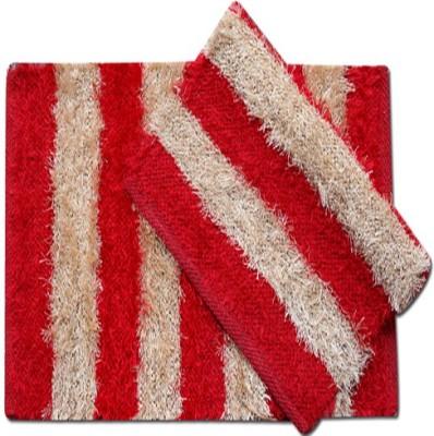 Furnishing Kingdom Polyester Medium Door Mat Fk Beidge Maroon Polyster Fur Based Door Mats