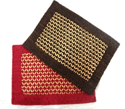Peponi Polyester Small Door Mat Peponi Multicolor Cotton Hand Woven Door Mat Set of 2