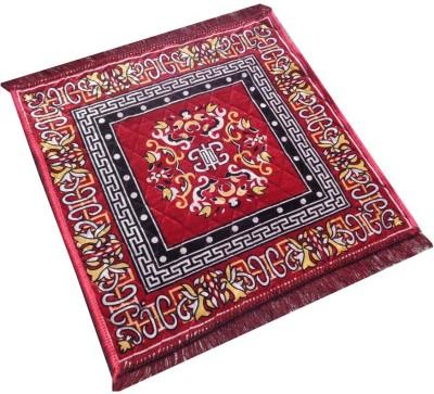 Yellow Weaves Polyester Large Prayer Mat Ethnic Design Pooja Aasan
