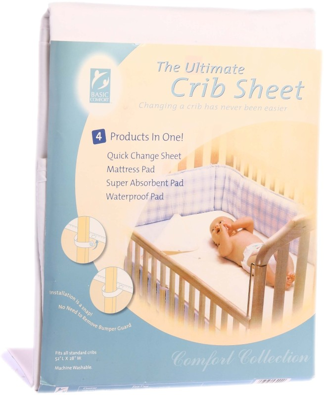 Basic Comfort Cotton Changing Mat Ultimate Crib Sheet(White, Large)
