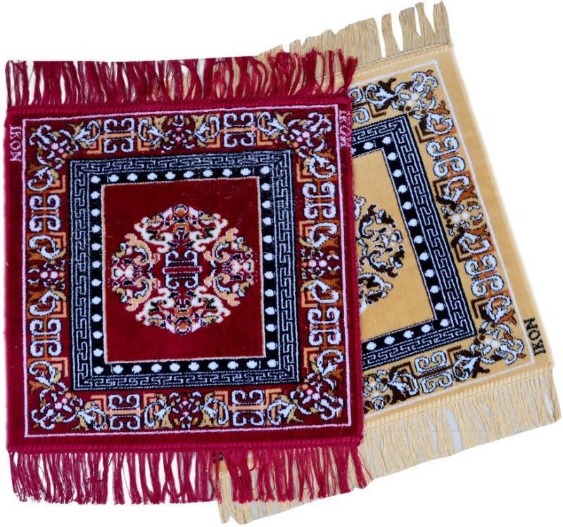 El Sandalo Acrylic Prayer Mat Designer Puja Mat(Maroon, Beige, Medium)