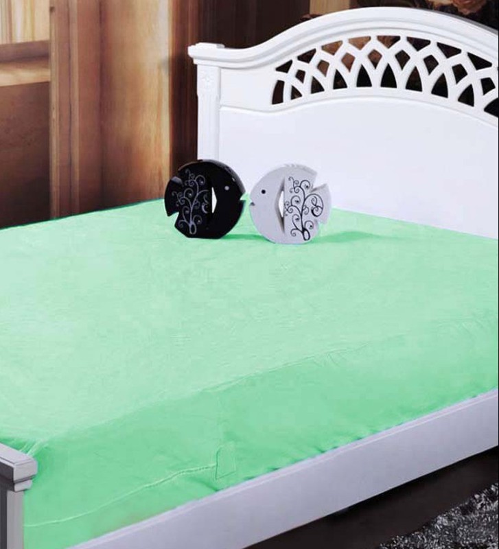 GD HOME DECOR Zippered Single Size Mattress Protector(Green)