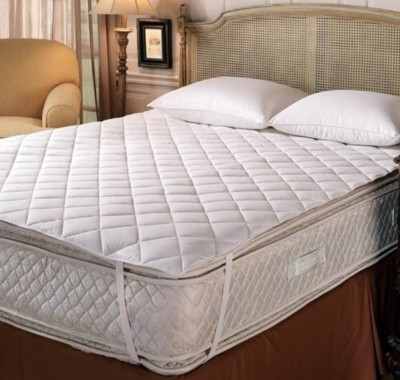 GLAMOUR HOME Elastic Strap Queen, Twin Size Mattress Protector(White)